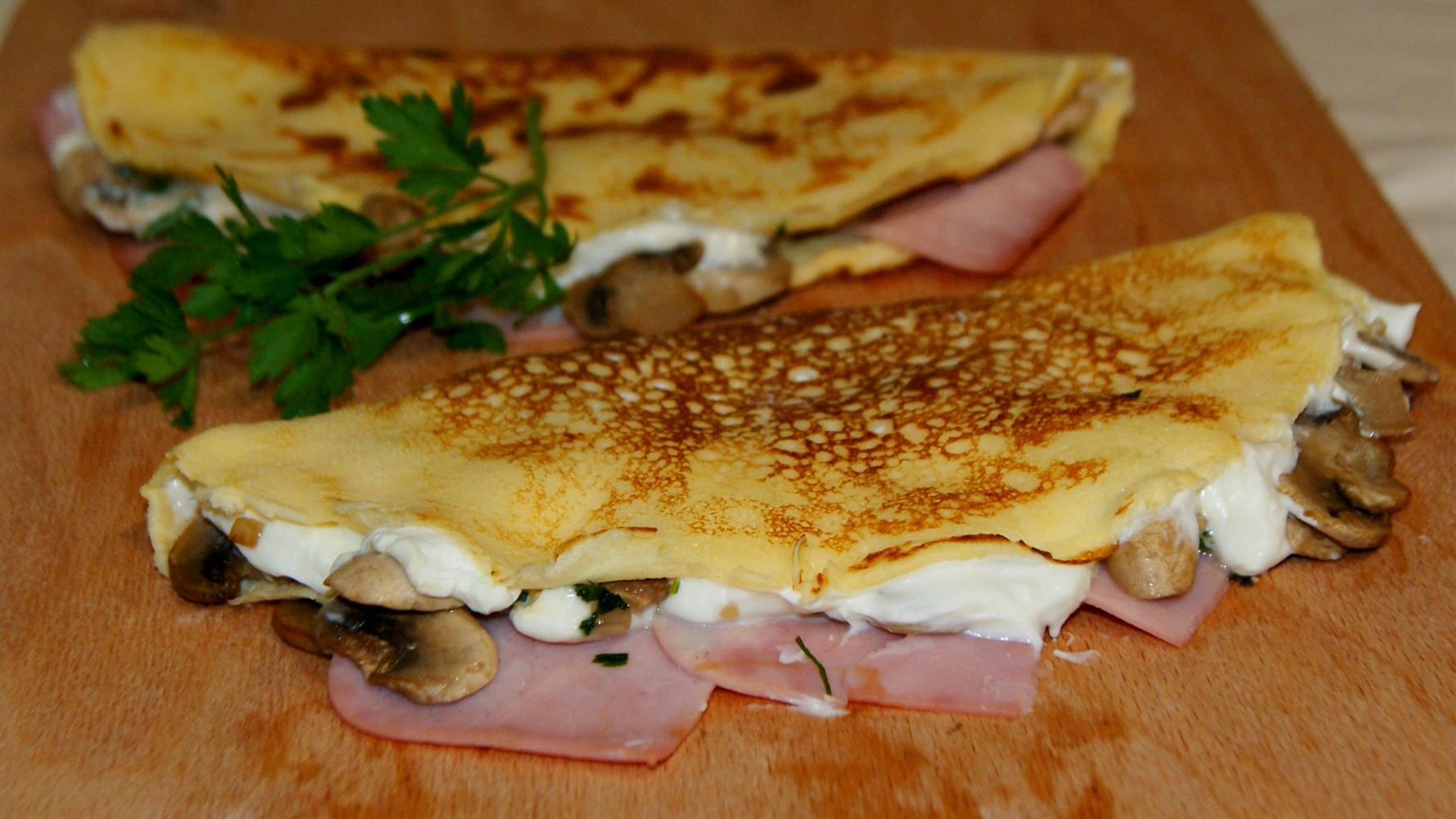 Crepes de jam n queso y champi ones light anna recetas for Canape de jamon y queso