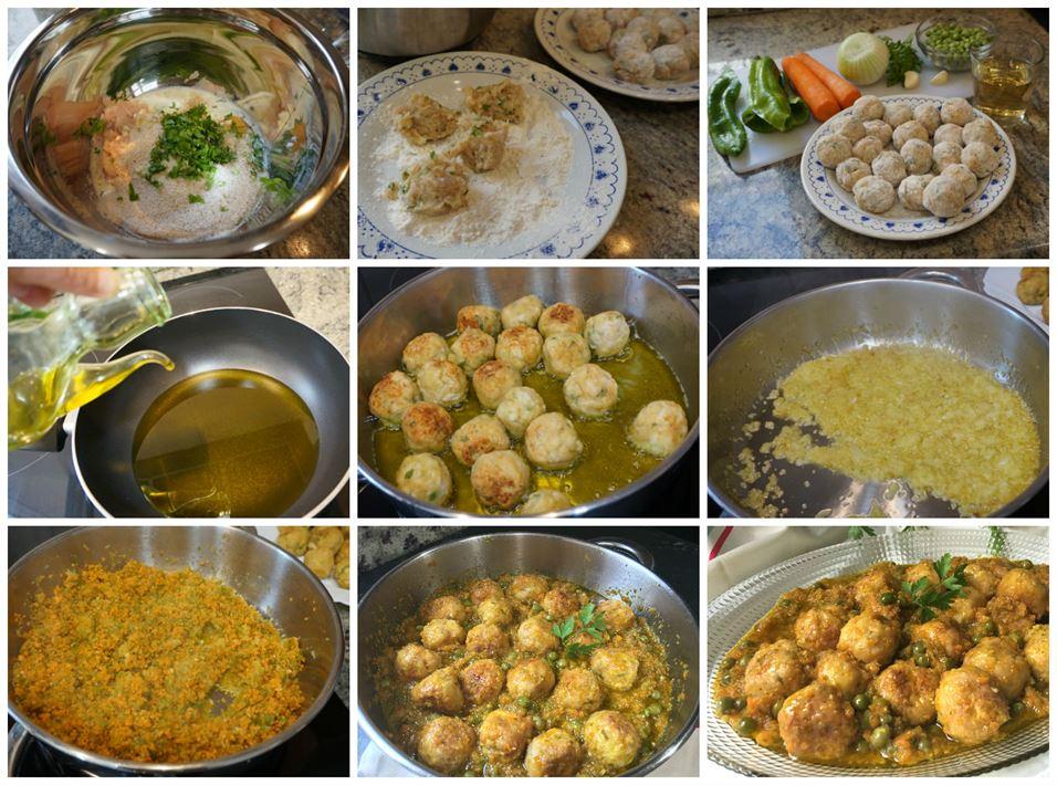 Preparación paso a paso de las albóndigas de pollo con verduras