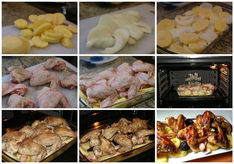 pollo al horno con patatas pimientos y cebolla