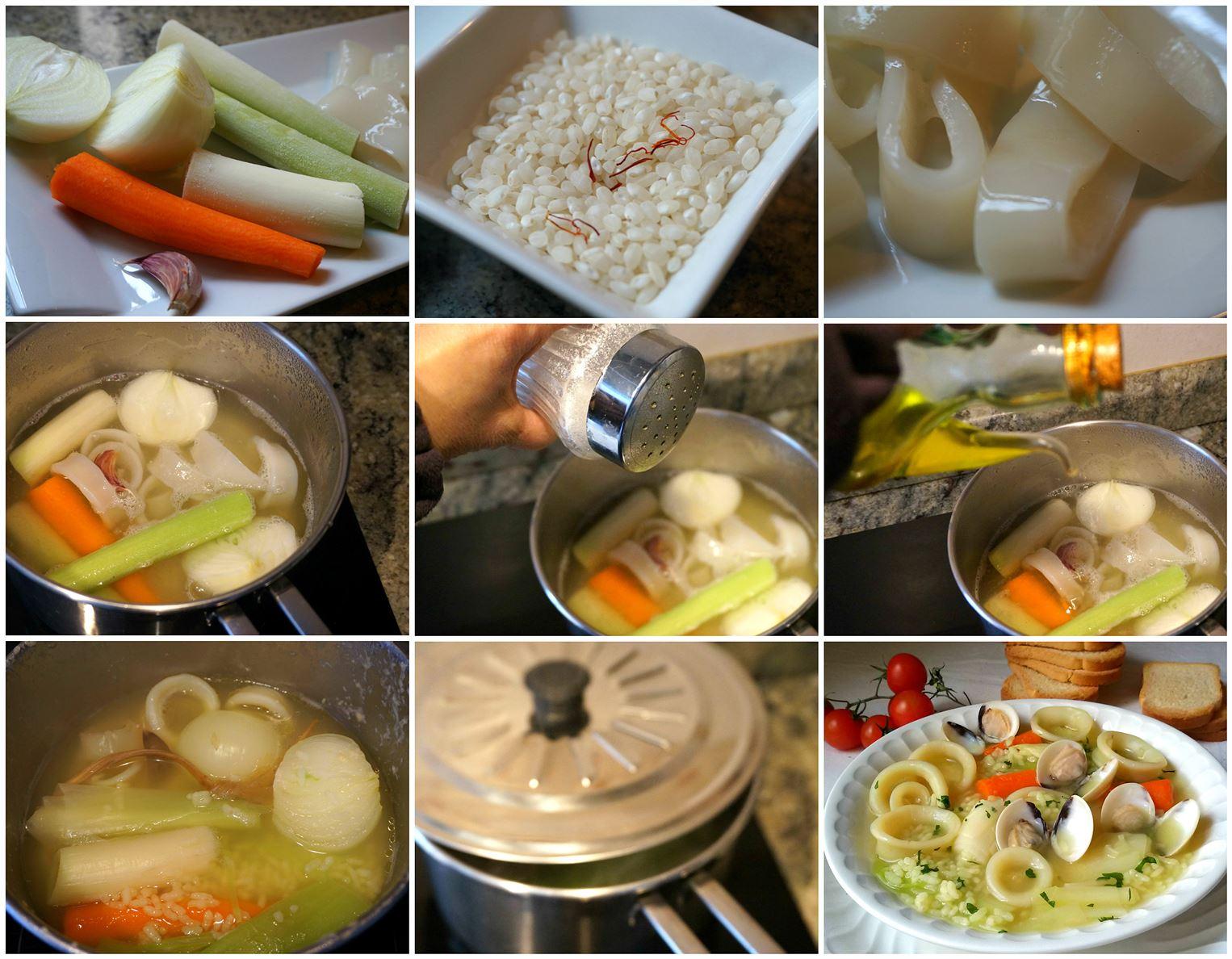 Preparación del arroz caldoso con calamares