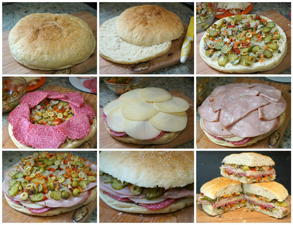 Preparación del sándwich Muffuletta