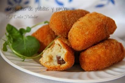 Croquetas de puré de patatas y jamón