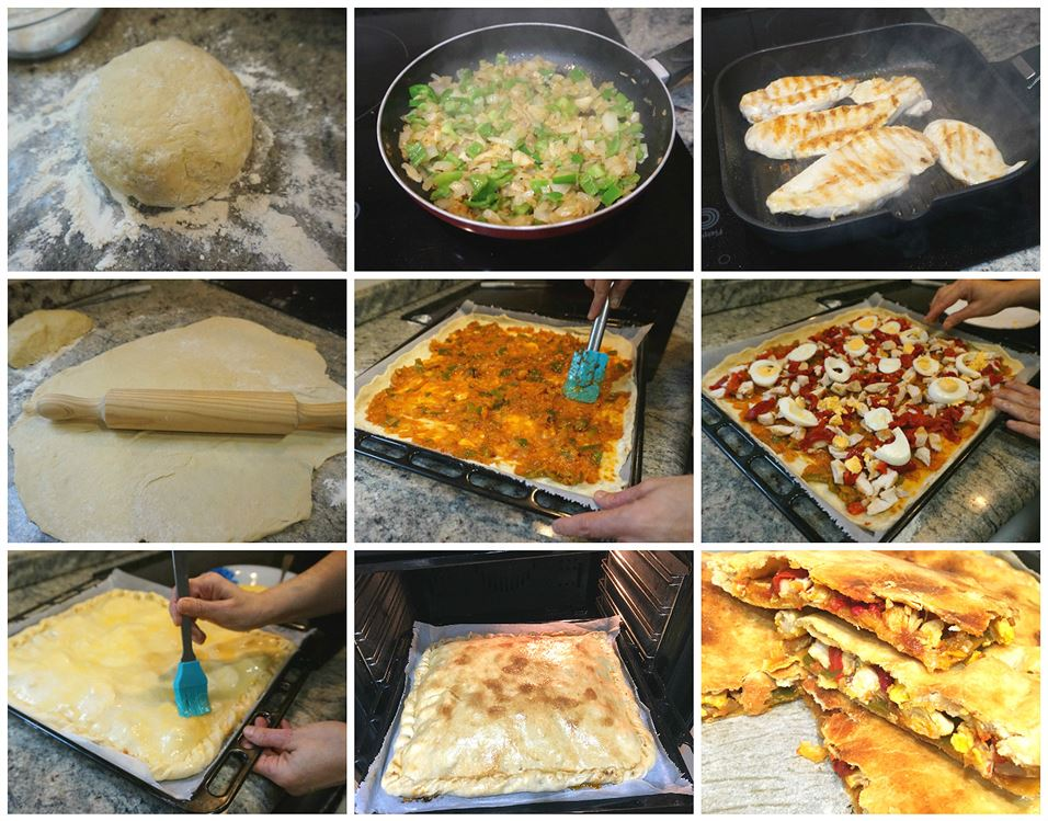 Preparación de la empanada de pollo