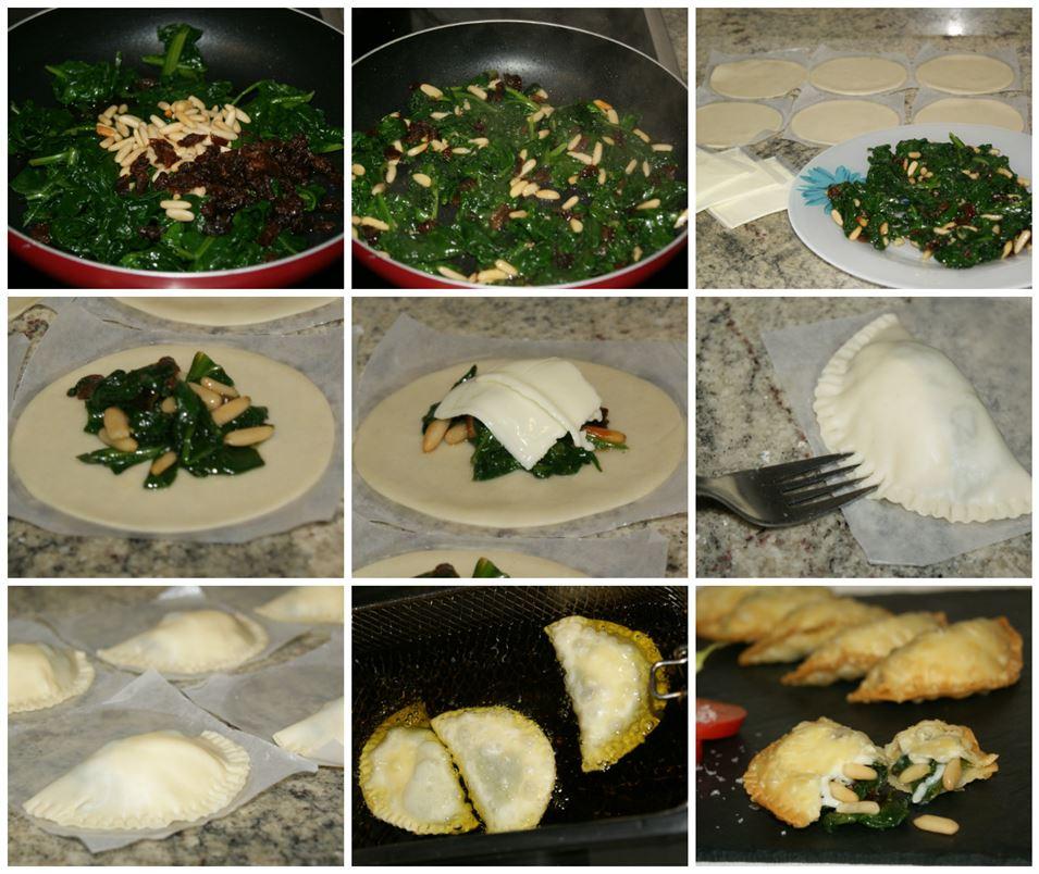 Preparación paso a paso de las empanadillas de espinacas con pasas y piñones