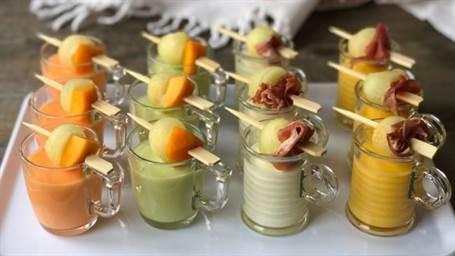 Ensaladas de melón en vasitos
