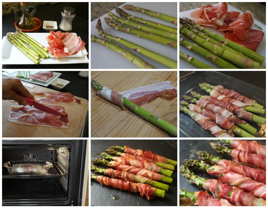 Preparación de los espárragos al horno con jamón