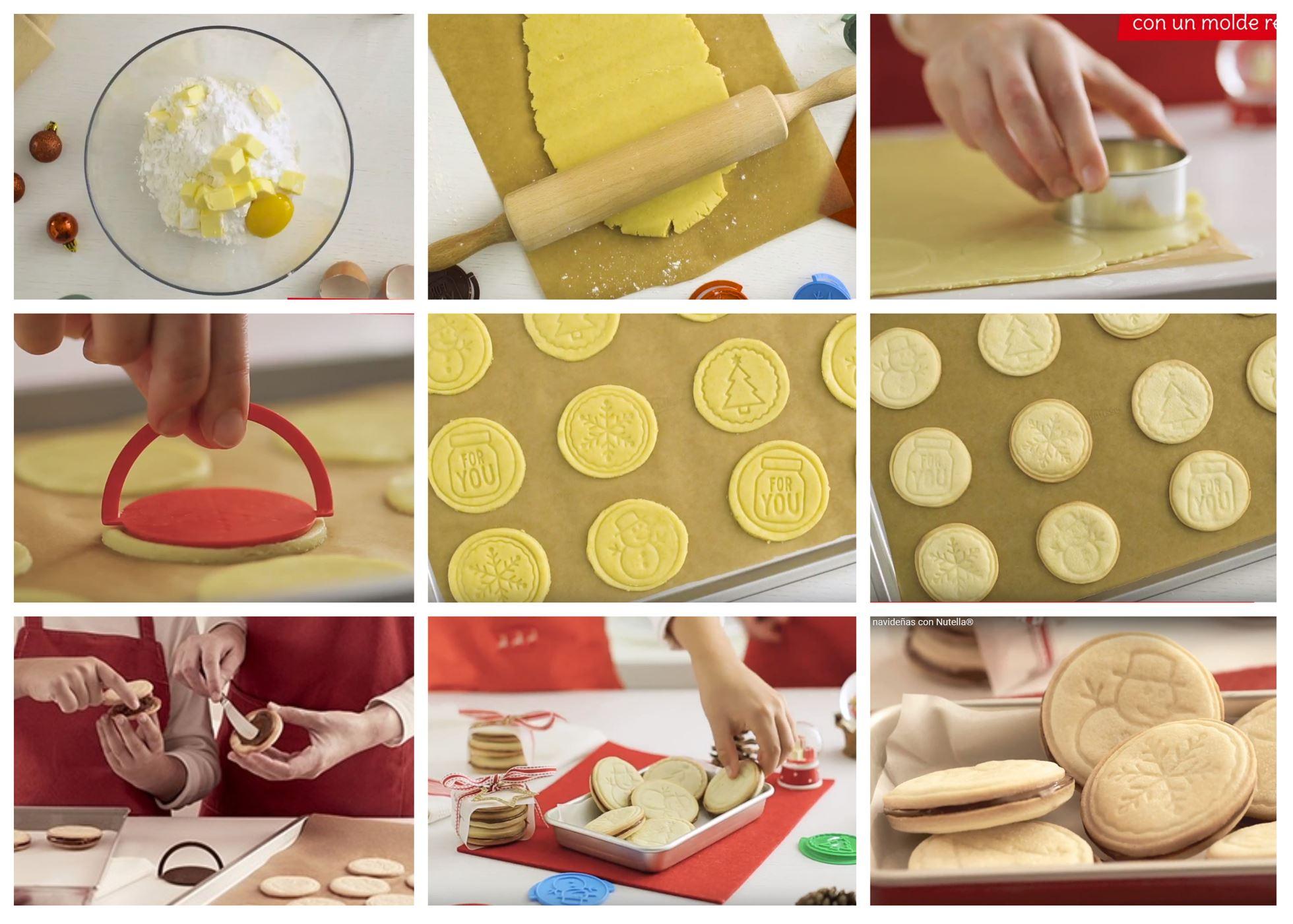 Preparación de las galletas navideñas con Nutella