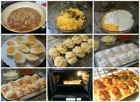 Huevos rellenos de carne gratinados