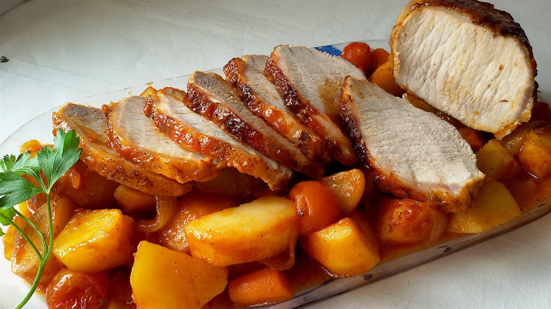 Lomo al horno con ketchup y verduras anna recetas f ciles - Como preparar un solomillo de cerdo al horno ...
