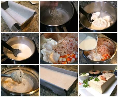 Preparación del pastel de marisco