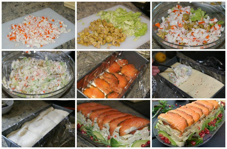 Preparación del pastel de salmón