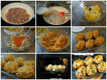 Preparación de las patatas rellenas de carne