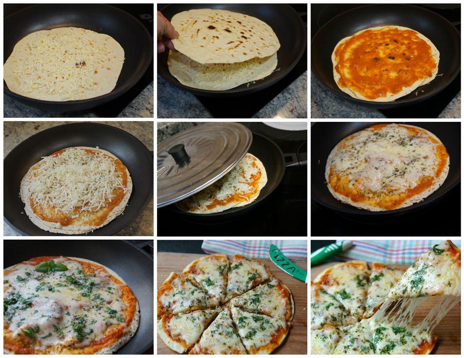 Preparación paso a paso de la pizza margarita en la sartén