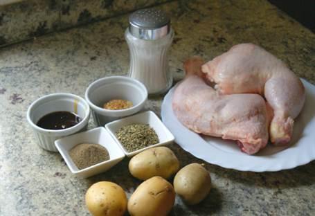 Ingredientes para preparar pollo asado con miel y mostaza
