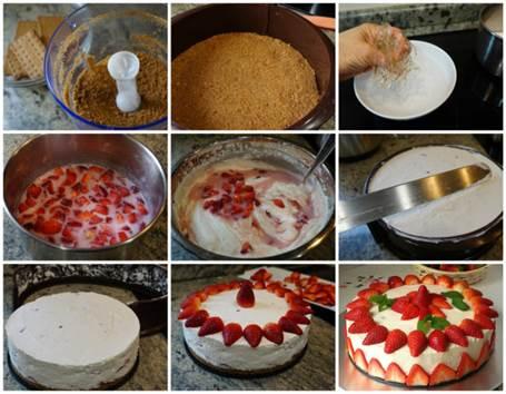 Preparación de la Tarta fácil de fresas con nata (sin horno)