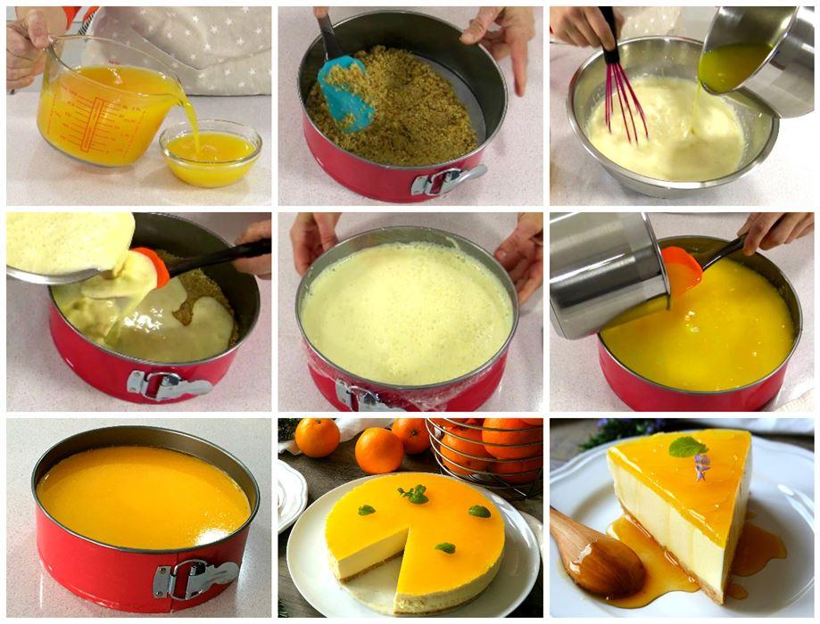 Preparación paso a paso de la tarta de naranja sin horno (cheesecake de naranja)