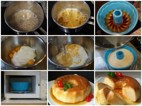 Preparación de la tarta de queso al microondas.