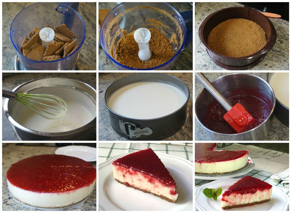 Preparación de la tarta de yogur y nata SIN HORNO