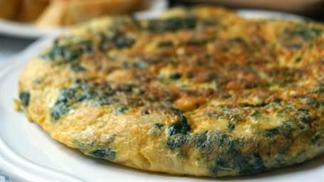 Tortilla de espinacas con alubias