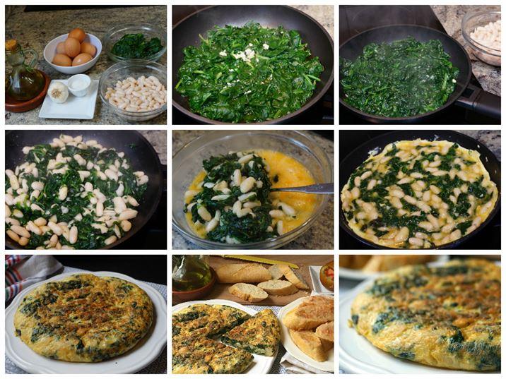 Tortilla de espinacas y alubias